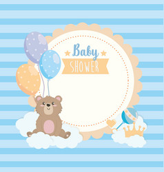 label teddy bear with ballons and clouds vector image
