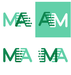 ma letters logo with accent speed in light green vector image