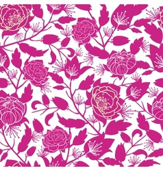 Magenta floral silhouettes seamless pattern vector