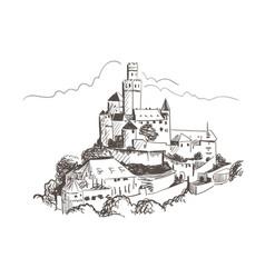 Marksburg castle sketch monochrome line art vector