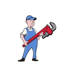 Mechanic Cradling Pipe Wrench Cartoon vector image