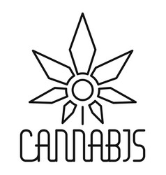 medical cannabis leaf logo outline style vector image
