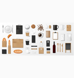 mockup set for bakery shop cafe or restaurant vector image