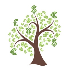Money tree on white background vector image