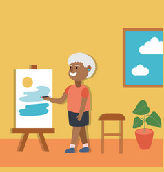 Old afro woman paint picture active senior vector