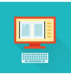 online flat library icon vector image