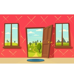 Open door Valley landscape Cartoon vector image