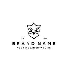 Owl shield logo design vector