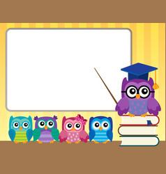 Owl teacher and owlets theme image 9 vector