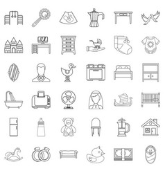 Parental supervision icons set outline style vector