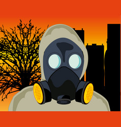 Persons in gas mask and ecological catastrophe vector