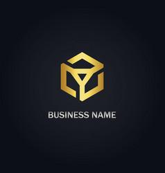 polygon geometry gold logo vector image