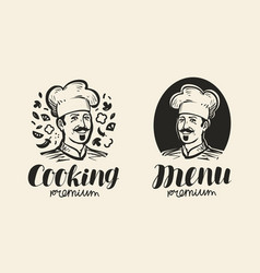 Portrait of happy chef logo icon and label for vector