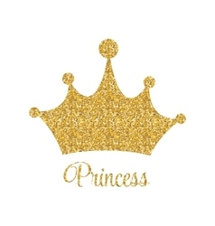 Princess Golden Glossy Background with Crown vector image