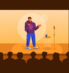 Professional comedian at stage in stand up comedy vector