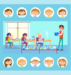 pupils making research chemistry lessons vector image