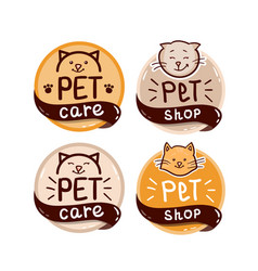 round logo set with cat and text pet shop vector image
