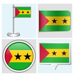 Sao Tome and Principe flag - sticker button vector