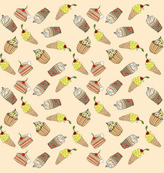 seamless pattern with different sweet cakes vector image