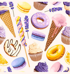 seamless pattern with lilac and yellow sweets vector image