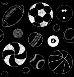 seamless pattern with set of sport balls hand vector image