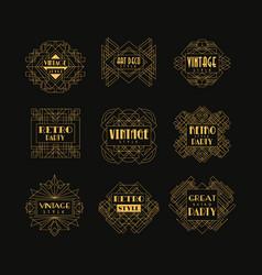 set art deco badges decorative golden frames vector image