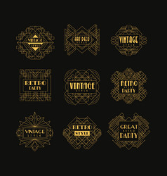 set of art deco badges decorative golden frames vector image
