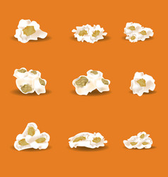 Set of realistic popcorn elements high detailed vector