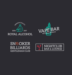 Set of retro vintage night club billiard vape vector