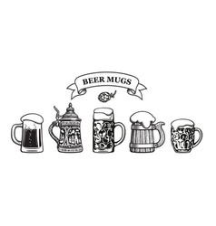 Set traditional beer mugs vector