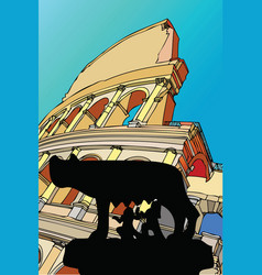 Shewolf with the colosseum rome italy vector