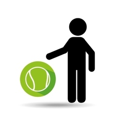 silhouette man point tennis ball vector image