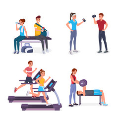 sport people flat set vector image