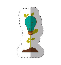 Sticker of plant stem with leaves and incandescent vector