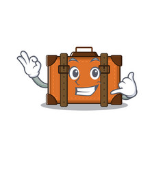 Suitcase with in cartoon call me shape vector