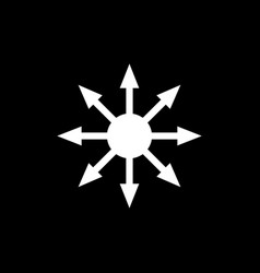 symbol chaos white isolated on black vector image