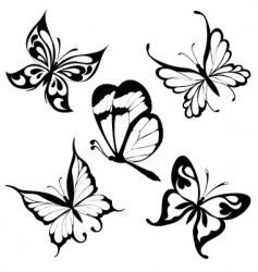 Tattoo butterflies vector