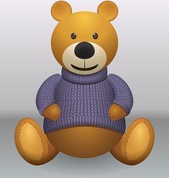 Teddy bear in sweater grey ackground vector image