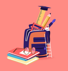 tiny female put educational tools in huge backpack vector image