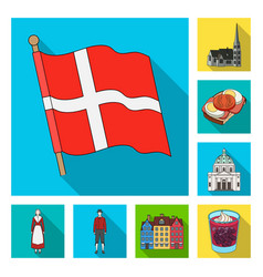 Traveling in denmark flat icons in set collection vector