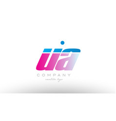 Ua u a alphabet letter combination pink blue bold vector