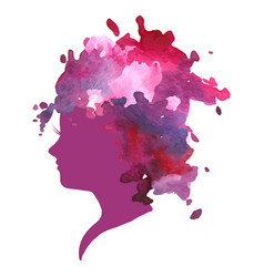 watercolor profile of a woman vector image