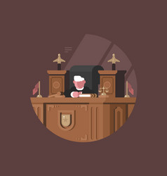 Wise judge in chair at workplace vector