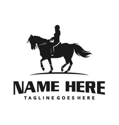 women logo riding a horse vector image