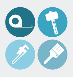 Wrench meter hammer paint brush tool icon vector