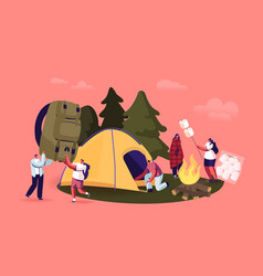 young people spend time at summer camp in deep vector image