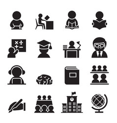 learning icon set vector image vector image