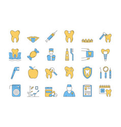 linear color icon set 7 - dental care vector image vector image