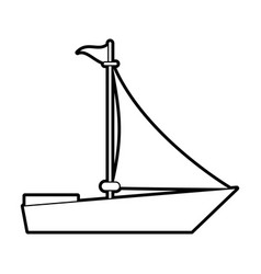 sketch silhouette image wooden boat with sail vector image