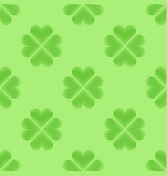 clover leaf embroidery floral background green vector image vector image